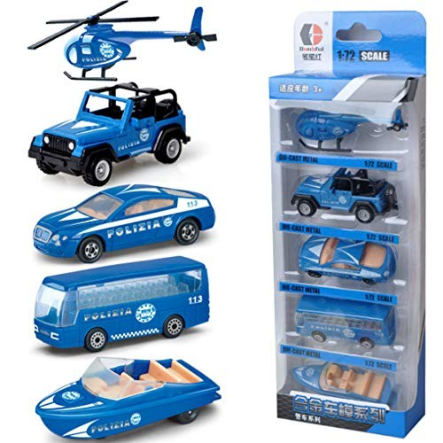 WOLFBUSH 5Pcs Police Car Toy Sliding Alloy Cars Engineering Model Playsets Construction Toys for 2 Year Old Children Police Series