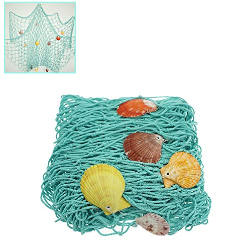 Aqua Rustic Decorative Fishing Net Wall Decor with Seashells Nautical Style Hangings Ornamentsby Shxstore