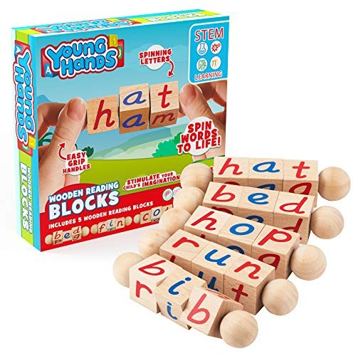 Wooden Reading Blocks 5 Sets of Fun Educational Spinning Alphabet Manipulative for Children w Easy-Grip Handles STEM & Montessori Approved Toy Pre-Kindergarten Gift