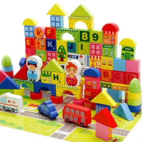 LxWM 160Pcs Wooden Blocks Learning Urban Traffic Cognition Multifunctional Cognitive Shape Building Children's Educational Toys