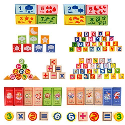 LxWM Children's Toy Building Blocks 100 Digital Letters Learning Cognitive Multi-Functional Wooden