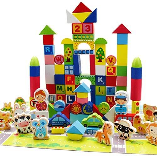 LxWM 100 Pieces of Wooden Blocks Urban Traffic Learning Cognitive Versatile Shape Building Children's Toys