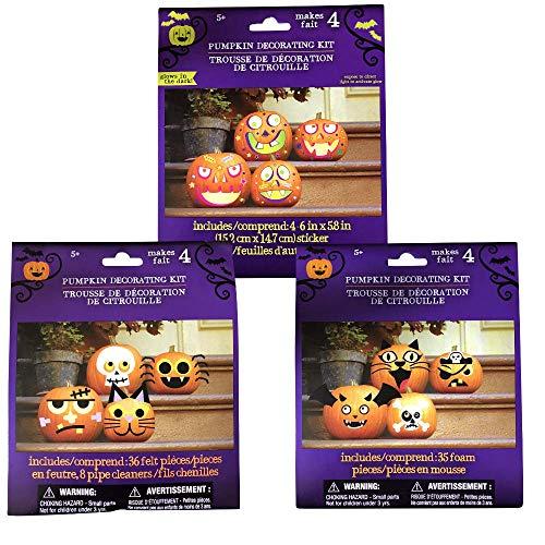 Pumpkin Decorating Kits – Decorates 12 Pumpkins with Cute & Funny Faces 2018 Design