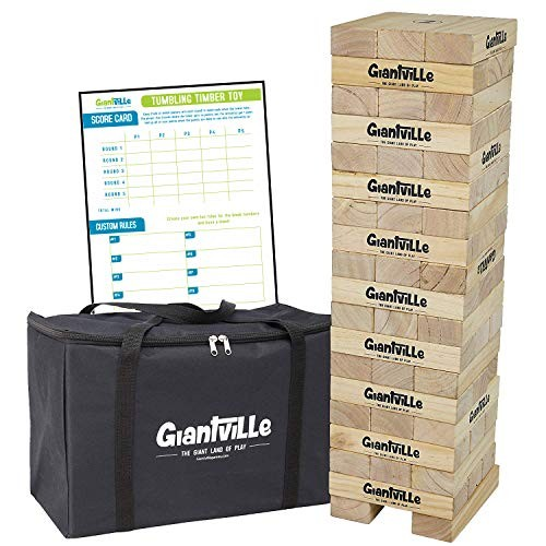 Giant Tumbling Timber Toy – Jumbo Wooden Blocks Floor Game for Kids and Adults 56 Pieces Premium Pine Wood Carry Bag Life Size by Giantville Grows to Over 5-feet While Playing