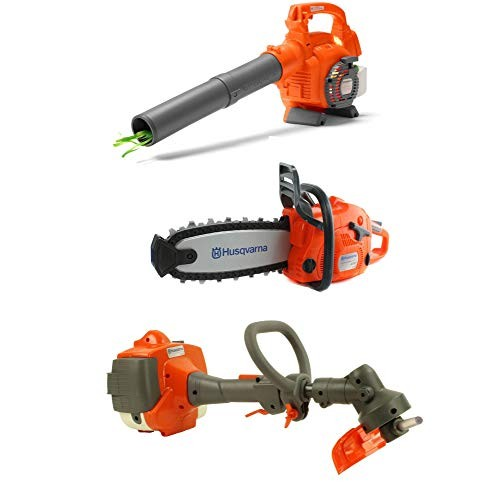 Husqvarna Kids Toy Battery Operated Leaf Blower + Lawn Trimmer Line Chainsaw