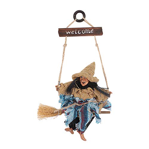 Hanging Animated Witch on Broomstick Halloween Decoration Dolls Pendant Haunted House Decorate Props KTV Bar Restaurant Door Indoor Outdoor Decor Hanged Wizard Welcome Figure Witch with Yellow Hat