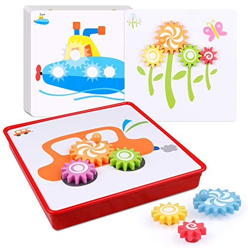 D-Fantix Gear Toys for Kids Spinning Puzzle Board Games Set Peg Puzzles Cog Fine Motor Skill Toddlers Stem Preschool Learning Educational