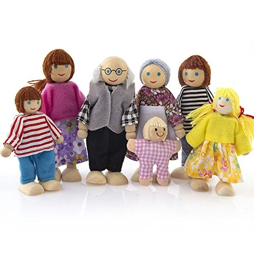 Wenini 7 People Doll Family Set Wooden Furniture Dolls House Family Miniature 7 People