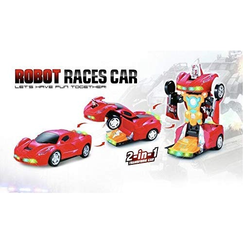 INCHOI JOYSAE Robot Races car Battery Operated Bump and Go Transforming Toys for Kids -Auto Auto Robots Action Figure Toy Vehicles – Realistic Engine Sounds & Beautiful Flash Lights