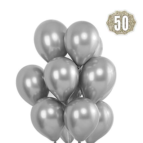 HoveBeaty Silver Balloons Chrome Shiny Metallic Latex 12 Inch Thicken 50 Pack for Wedding Party Baby Shower Christmas Birthday Carnival Decoration Supplies