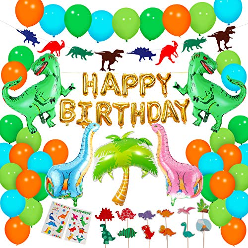 Dinosaur Party Supplies – 90 pcs for Birthday Decorations Dino kids favors balloons Cake Topper jungle Latex with Pump tattoo