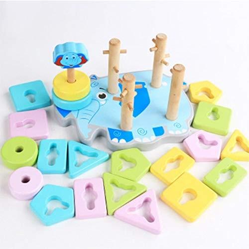 Zhenyu Wooden Toys Building Blocks Block Four Columns Children monterssori Develop Baby's Intelligence Early Education