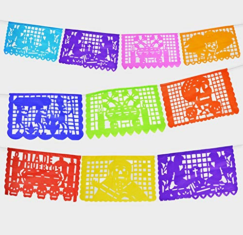 2 Pack Dia de los Angelitos Day of the little Angels Mexican Papel Picado Tissue Paper Banner Colorful Dead Decorations Medium Size Panels