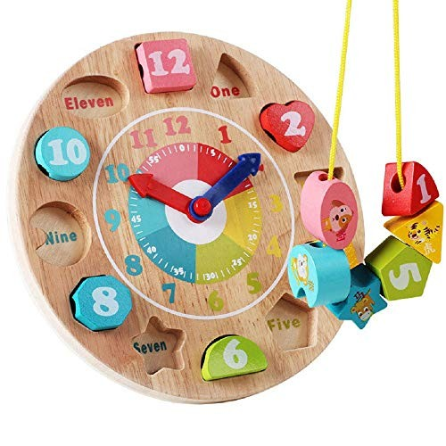 Zhenyu Baby Toy Wooden Toys Clock Model Building Blocks Number and Animal Beaded Monterssori Learning Educational Board Games