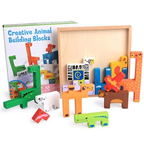 Zhenyu Wooden Toys Baby Building Block Toy for Children Animal 13pcs Colorful Learning Educational Table Game Gifts