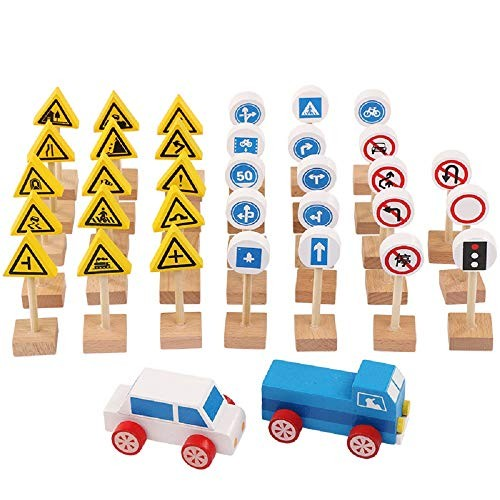 Zhenyu Baby Wooden Toy Building Block Vehicle Traffic Sign Learning Educational Table Games Kids Teaching Toys