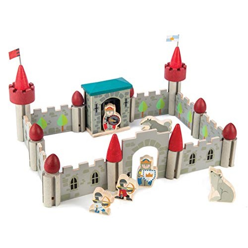 Premium Wolf Castle – 40 Pc Starter Set Wooden Building Blocks Playset Kit Medieval Soldiers and Theme Eco-Friendly Materials Imaginative & Creative Role Play Ages 3+