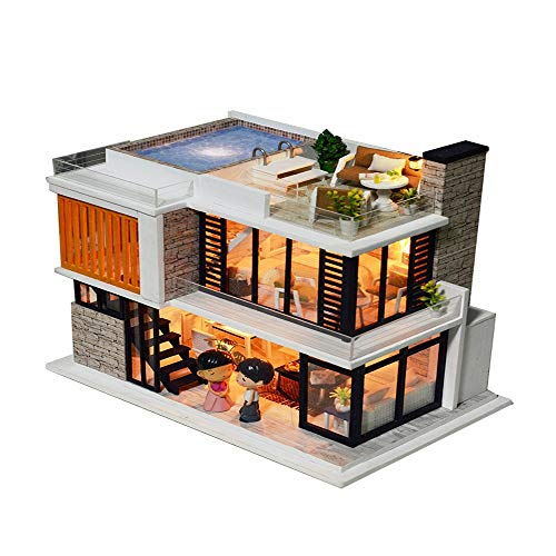 Wenini Christmas 3D Wooden DIY Miniature House – Furniture LED Puzzle Decorate Creative for Kids Multicolor