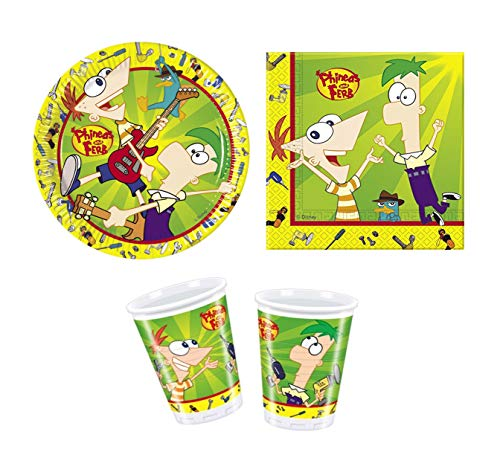 Phineas and Ferb 3 Piece Party Set – Plates Napkins & Cups