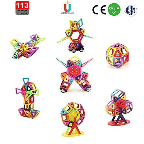 letsgood Magnetic Tiles Building Blocks Set – 113 PCS Preschool STEM Early Educational Construction Toys for Kids Boys Girls