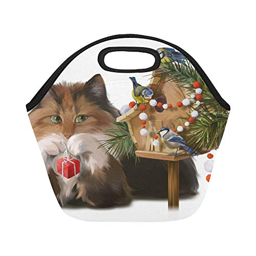Insulated Neoprene Lunch Bag Fluffy Cat And Chickadees Decorate The House Large Size Reusable Thermal Thick Tote Bags For Boxes Outdoorswork Office School