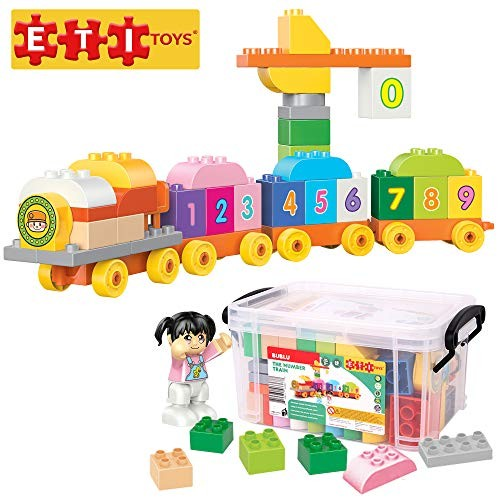 ETI Toys 58 Piece Bublu The Number Train Building Blocks Build & Carriages with Numbers Toll Gate Safe Creative Skills Development Gift Toy for 3 4 5 Year Old Boys and Girls
