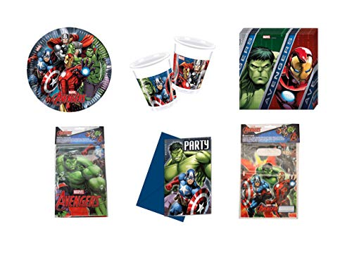 Marvel Avengers Complete Party 6 Piece Set – Cups Plates Napkins Table Cover Bags & Invitations