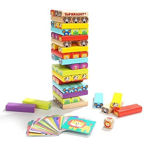 Karaze 78 Wooden Tumbling Tower Toy- Colored Stacking Building Blocks with Animal Pictures Card & Dice Party Game -Gift for 4 Year Old Kids Toddlers Boys Girls