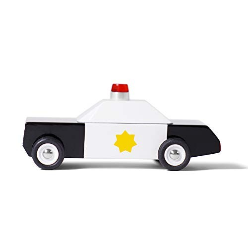 Candylab Toys Wooden Cars Juniors Police Car Kids Model Toy Cars Solid Beech Wood