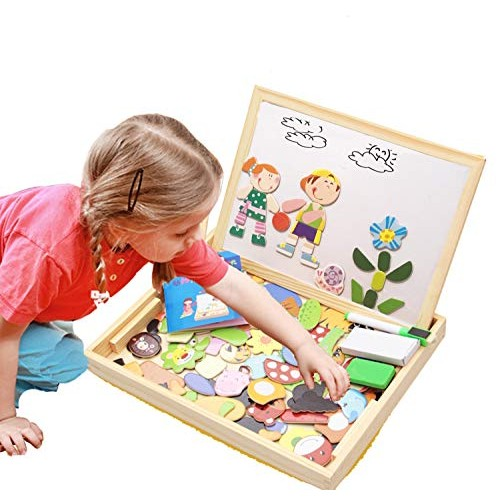 ODDODDY Educational Wooden Toys for Kids Children Toddlers Magnetic Drawing Board Puzzles Games Learning Age Year Old Gift Idea Birthday Halloween Christmas kids2
