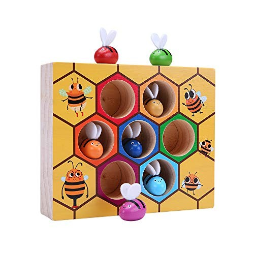 Baby ToysMeiLiio Bee Hive Board Games Early Childhood Education Building Blocks Balance Training Wooden Toys for Children Toddler Kids Girls Boys