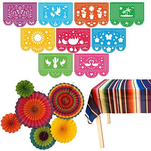 Jelda's Fiesta Party Supplies Mexican Decorations Theme Decor for Birthday Cinco De Mayo Coco Taco etc Large Felt Papel Picado Banner Plastic Serape Table Cover Colorful Paper Fans