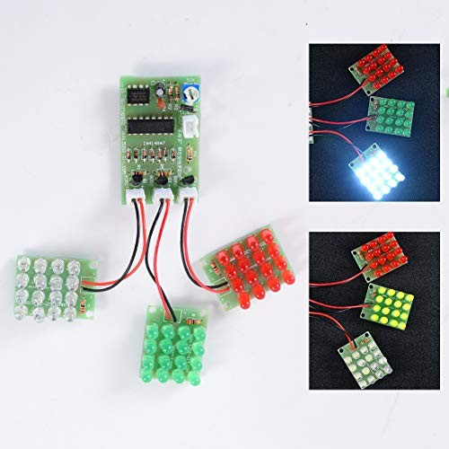 DDIY Flash Lamp Soldering Project Electronic Kit DIY Parts Beginners Learning Welding Assemble CD4017+Ne555 with Red Blue Green Tri-Color LED Light