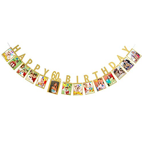 Hatcher lee Happy 60th Birthday Fabulous Sixty 60 Years Photo Banner Gold Foiled for Decorations Picture Bunting