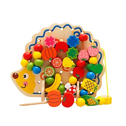 AIBAB Puzzle Beaded Round Beads Building Blocks Hedgehog Fruit Threading Wooden Toy Wear The Rope Game Educatio
