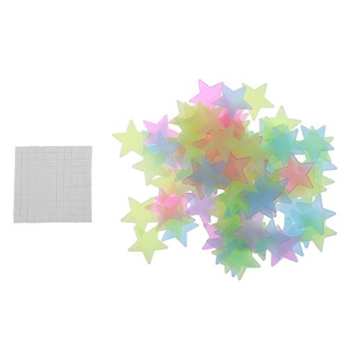 Wendy Mall 100pcs DIY Luminous Star Patch Fluorescent Sticker 3D Wall Stickers Home Decor for Bedroom Decorate Baby Kids Gift Colorful