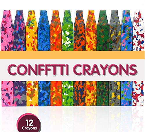 PuTwo Crayons 12pcs Washable with Square Design Safe & Non-Toxic Funny Confetti Crayon Toys for Toddlers Kids Children Adult Drawing Crafts Arts Painting Coloring – Multicolor