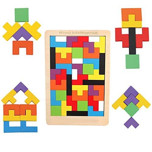 TechCode Wooden Preschool Puzzle Toy Intelligence Building Blocks Toys Colorful Tetris Educational Kids Set for Children Boys Girls