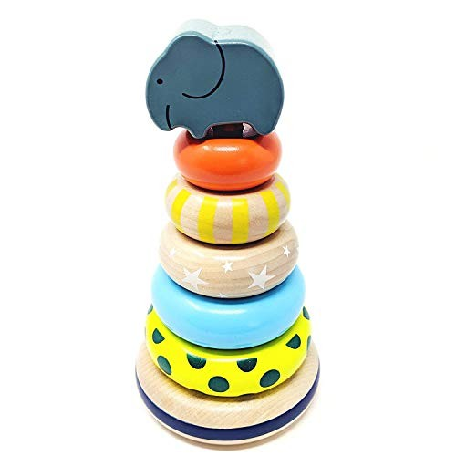 Orcamor Wooden Stacking Rings Toy with Elephant Topper – Montessori for Toddler 1 Year Old and Up 8 Inches Tall