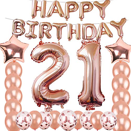 21st Birthday Decorations Party Supplies Jumbo Rose Gold Foil Balloons for SuppliesAnniversary Events and Graduation Sweet 21 Party21st Anniversary