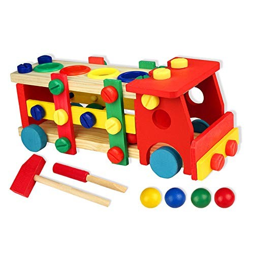 Wooden Nut and Building Blocks Car Construction KitChildren's Educational Toys Disassembly Combinations- Best Gift for Kids