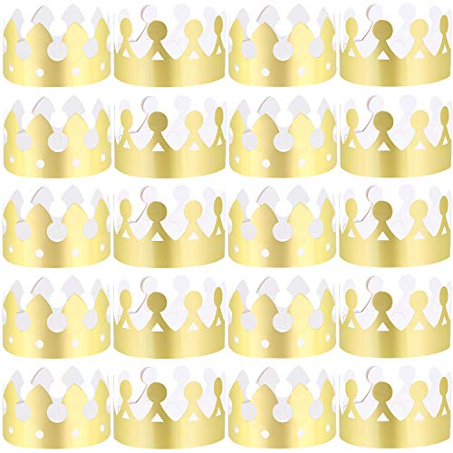 LOCOLO 30 Pieces Gold Paper Party Crowns 2 Style Crown for Birthday Baby Shower Photo Props