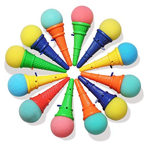 Novelty Place Ice Cream Shooters Toy Pack of 12 – Squeeze N' Pop Game Multi-Color Icecream Cone Foam Ball Launcher Great Party Favors and Carnival Prize for Kids Children 7 inch