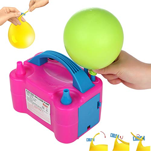 Party Zealot Electric Balloon Inflator with 100 Ties Air Pump Dual Nozzles Balloons Blower US Standard Plug for Arch Column Stand and Decoration