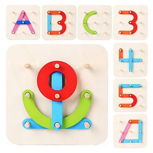LiKee Wooden Pattern Block Alphabet & Number Puzzle Sorting and Stacking Games Montessori Educational Toy Jigsaw for Toddlers Kids Age 3+ Years Old Preschool Classroom