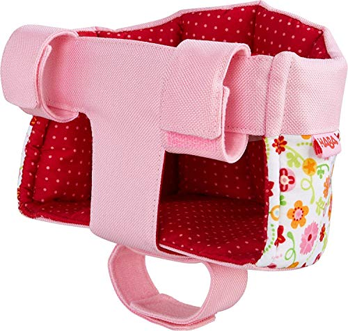 HABA Soft Doll's Bike Seat Flower Meadow – Attaches to Handlebars with Hook & Loop Attachment Scooters Trikes Bicycles