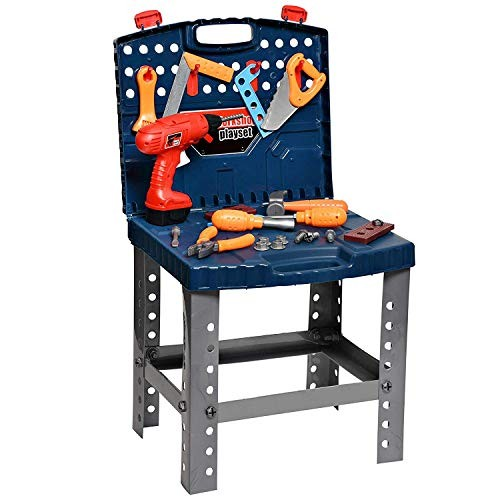 Playkidz Construction Workbench for Kids Portable Boys & Girls Toy Playset Includes Working Electric Power Drill Travel Carry Case 45+ Tools Accessories to Build a Realistic Ages 3+