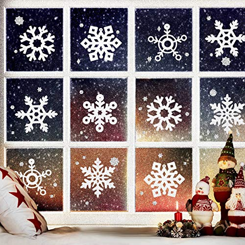 Boao 36 Pieces Christmas Glitter Snowflake Ornaments Decoration Cutouts for Winter Wonderland Wedding Birthday Party Tree DIY Crafts