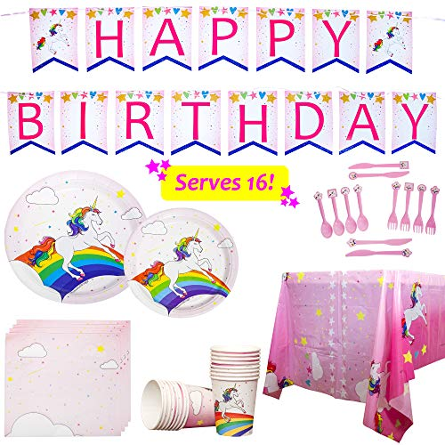 Redwood & Sage Unicorn Party Supplies Rainbow Birthday Plates and Tableware Set for 16 Guests