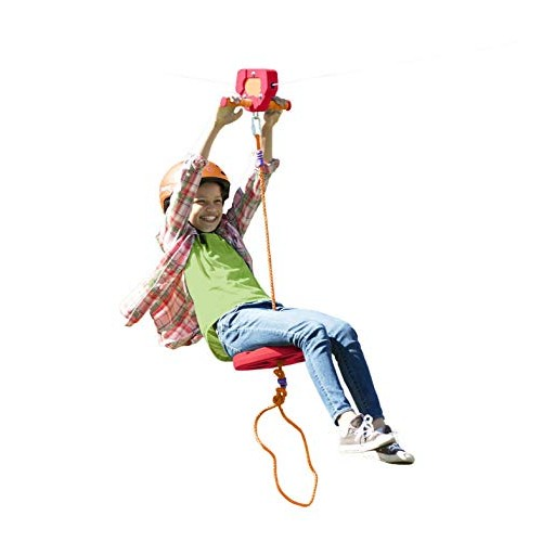 HearthSong 80' Red Kids' Backyard Zipline Kit with Adjustable Seat Non-Slip Handles Rubber Brake